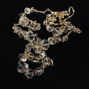 Jewelry - Clear crystal silver tone bib statement necklace